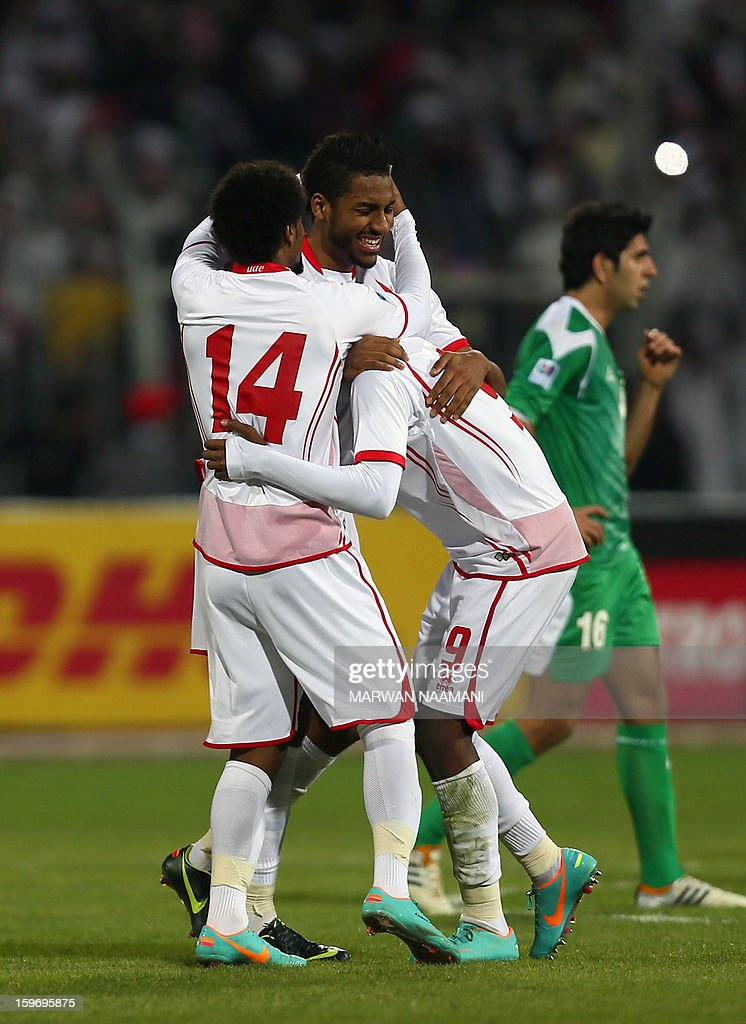 Emirati players celebrate after winning the final of the 21st Gulf Cup on January 18, 2013 in Manama. United Arab Emirates won 2-1 against Iraq. AFP PHOTO/MARWAN NAAMANI