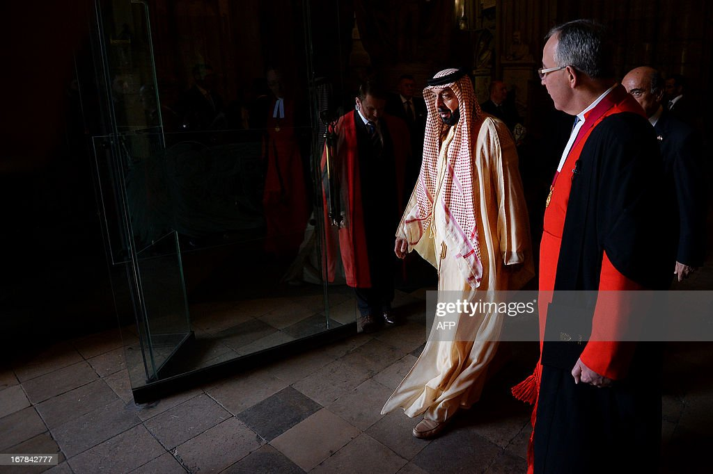 Emirati President Sheikh Khalifa bin Zayed al-Nahayan (2R) leaves after a visit to Westminster Abbey in central London on May 1, 2013 on the second day of his state visit to Britain. The UAE president was to face questions from Prime Minister David Cameron during a meeting over allegations that three British men jailed in Dubai were tortured.