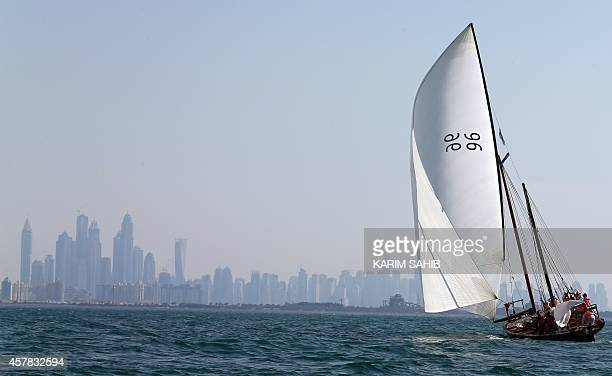 Emiratis sail traditional 60ft dhows during a race under the slogan 'Al Yamamah' strating at the island of alKamar finishing at the coast of Dubai on...