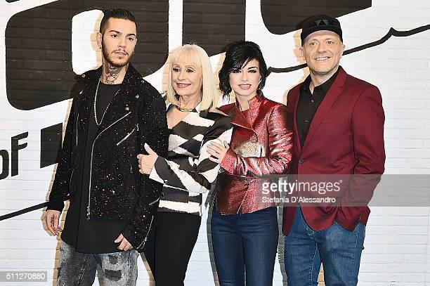 R Emis Killa Raffaella Carra Dolcenera and Max Pezzali attend 'The Voice Of Italy' Press Conference on February 19 2016 in Milan Italy