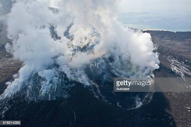 Emissions from the active volcano Tuvurvur aerial view It devastated the city of Rabaul in 1994 Near Rabaul East New Britain Papua New Guinea