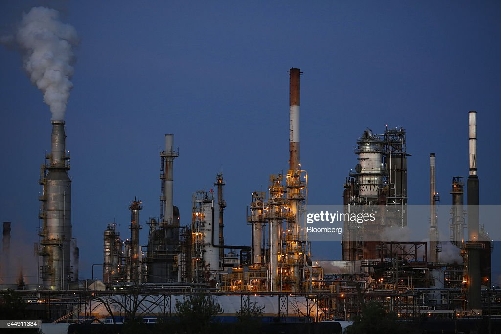 Emissions rise from the PBF Energy Inc Toledo Refining Company facility in Oregon Ohio US on Thursday June 30 2016 PBF Energy an independent...