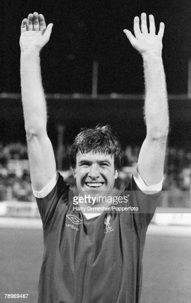 Football 6th April 1977 Zurich Switzerland European Cup SemiFinal First Leg FC Zurich 1 v Liverpool 3 A jubilant Emlyn Hughes with his arms aloft...