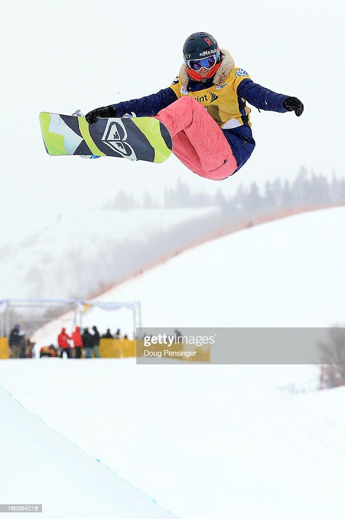 Emma Bernard of France competes during qualifications for the FIS Snowboard Halfpipe World Cup at the Sprint U.S. Grand Prix at Park City Mountain on January 30, 2013 in Park City, Utah.
