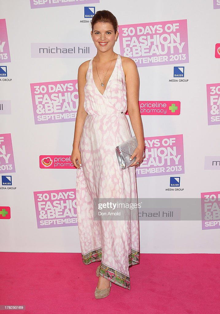 Emma Birdsall arrives at the 30 Days of Fashion and Beauty launch party at Town Hall on August 28, 2013 in Sydney, Australia.