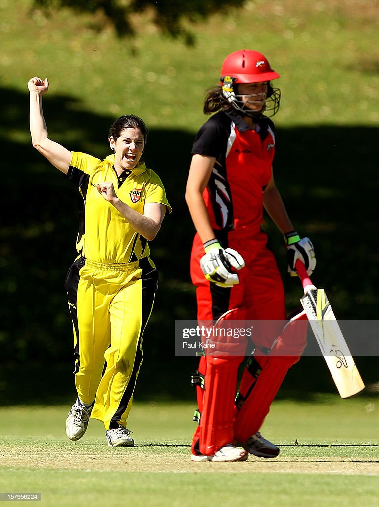 Emma Biss of the Fury celebrates dismissing Beth Morgan of the Scorpions during the WNCL match between the Western Australia Fury and the South Australia Scorpions at Christ Church Grammar Playing Fields on December 8, 2012 in Perth, Australia.