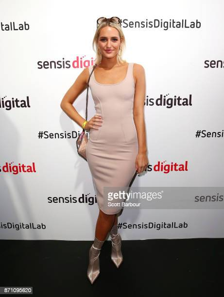 Emma BlakeHahnel girlfriend of Bernard Tomic poses at the Sensis Marquee on Melbourne Cup Day at Flemington Racecourse on November 7 2017 in...