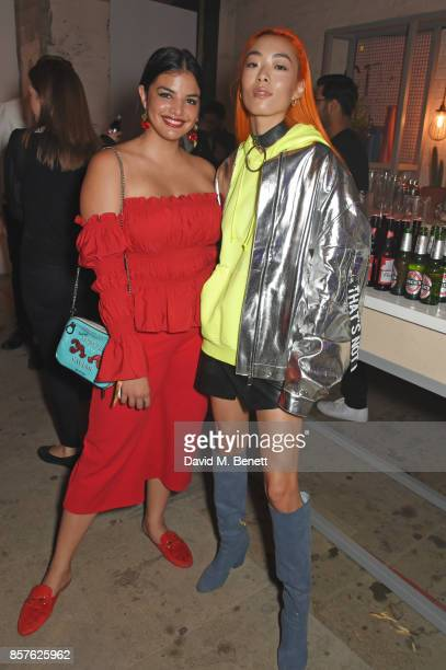 Emma Breschi and Rina Sawayama attend Google's Pixel 2 phone launch at The Old Selfridges Hotel on October 4 2017 in London England