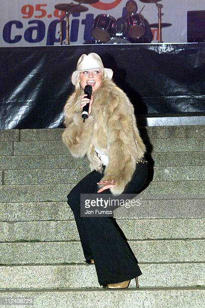 Emma Bunton during Capital FM Radio's Firework Display 2001 at Crystal Palace in London Great Britain