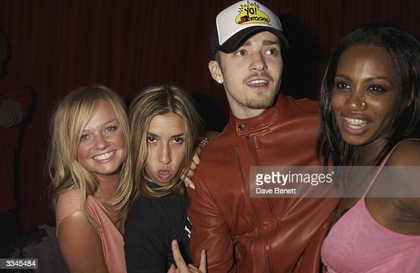 Emma Bunton Melanie Blatt Justin Timberlake and Shaznay Lewis attend the Rex Club Opening Night Party at The Rex Club on May 16 2003 in London