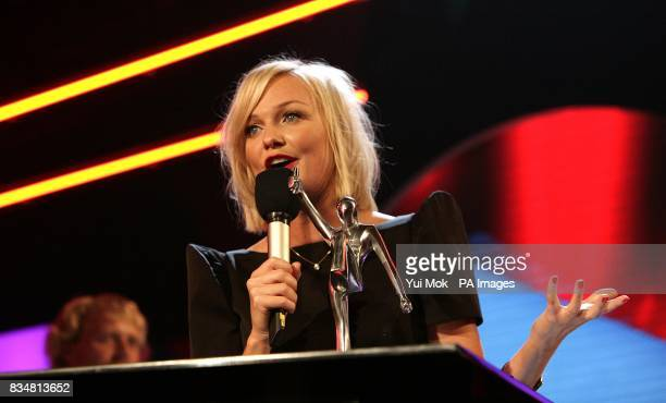 Emma Bunton of The Spice Girls accepts the award for Best Live Return at the Vodafone Live Music Awards 2008 at Brixton Academy Brixton London