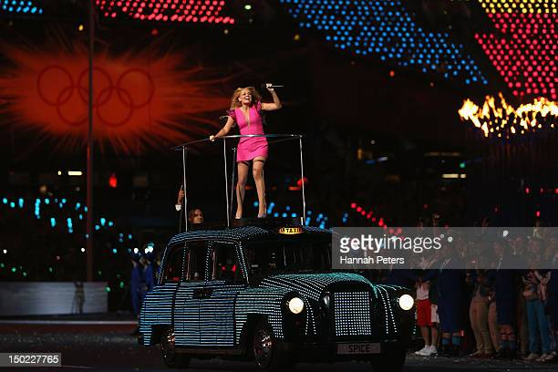 Emma Bunton of The Spice Girls performs during the Closing Ceremony on Day 16 of the London 2012 Olympic Games at Olympic Stadium on August 12 2012...