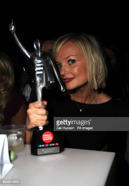 Emma Bunton of The Spice Girls with the award for Best Live Return at the Vodafone Live Music Awards 2008 at Brixton Academy Brixton London