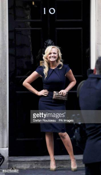 Emma Bunton poses for photographs on the doorstep of 10 Downing Street in central London where she attended The Children's Champions Awards Reception