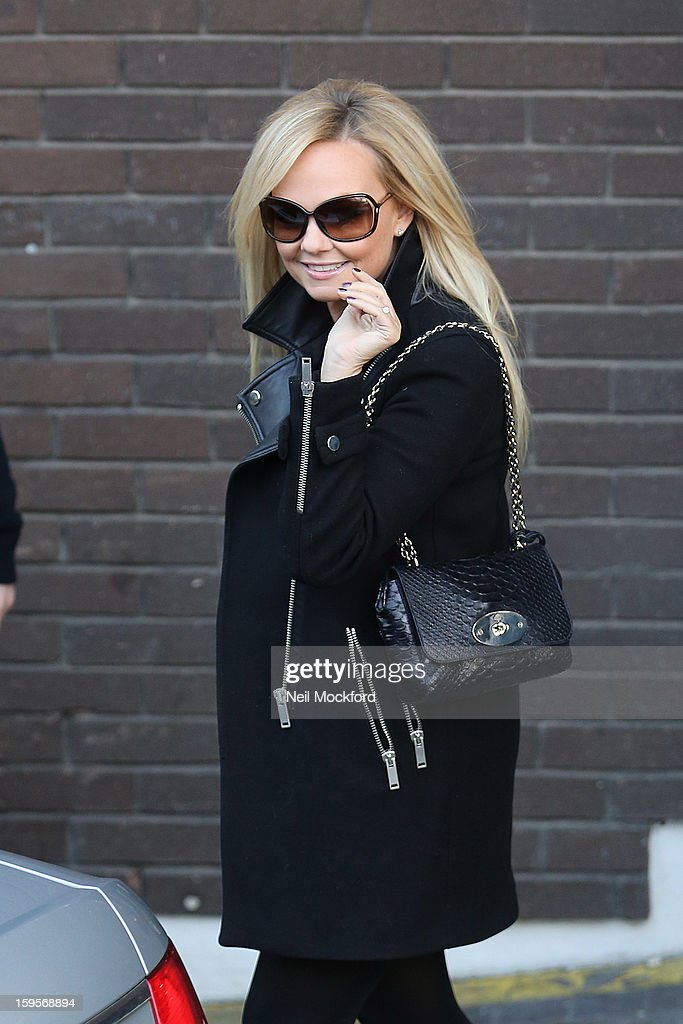 Emma Bunton seen leaving the ITV Studios on January 16, 2013 in London, England.