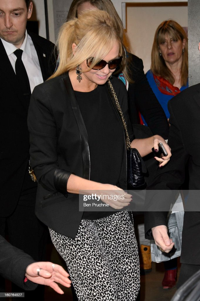 Emma Bunton sighted departing the Viva Foreever afternoon tea launch on February 5, 2013 in London, England.