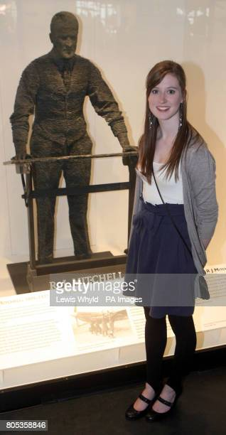 Emma Burns with the statue of her Great Grandfather RJ Mitchell the designer of the Spitfire aeroplane as it is unveiled at the Science Museum in...