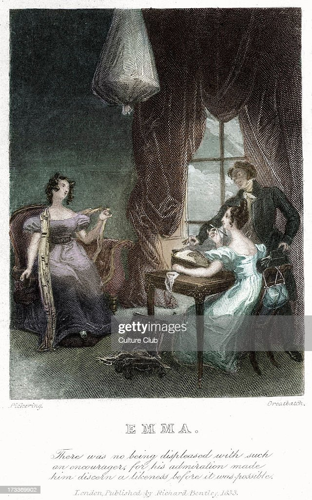 Emma by Jane Austen frontispiece Caption There was no being displeased with such an encourager for his admiration made him discern a likeness before...