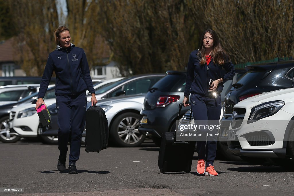 Emma Byrne and Vicky Losada of Arsenal arrive at Meadow Park prior to the WSL match between Arsenal Ladies and Birmingham City Ladies at Meadow Park on May 1, 2016 in Borehamwood, England.