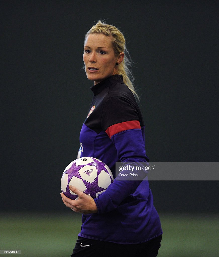 Emma Byrne of Arsenal Ladies during an Arsenal Ladies Training Session at Arsenal Training Ground on March 19, 2013 in St. Albans, Hertfordshire, England.
