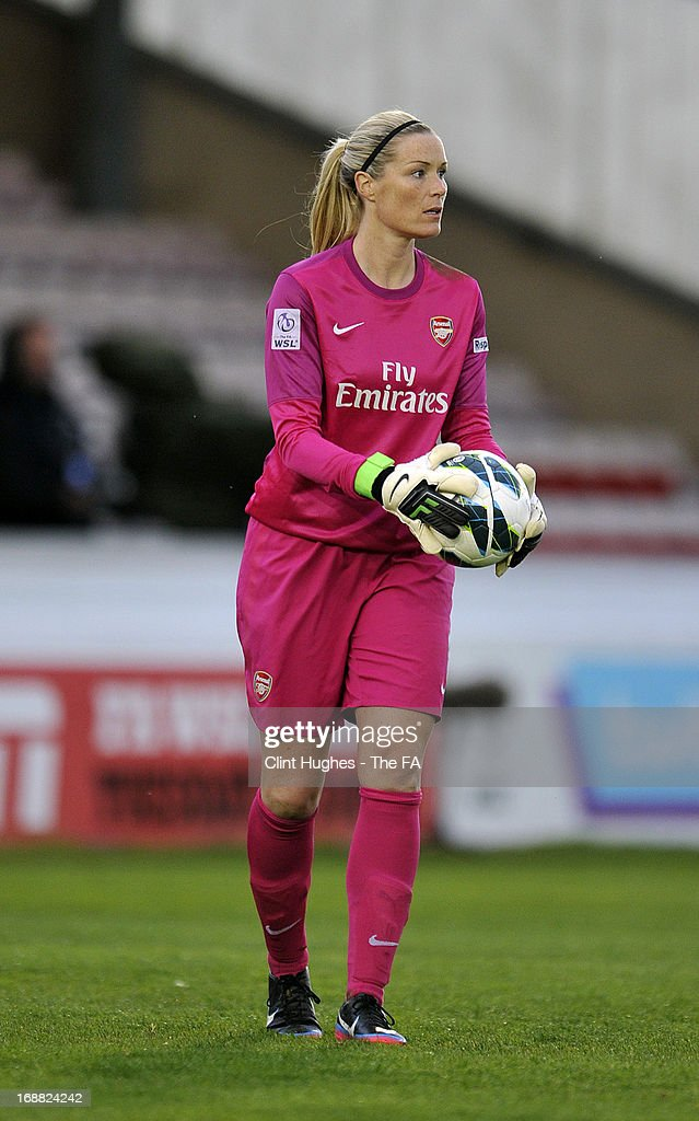 Emma Byrne of Arsenal Ladies during the FA WSL match between Lincoln Ladies FC and Arsenal Ladies FC at the Sincil Bank Stadium on May 15, 2013 in Lincoln, England