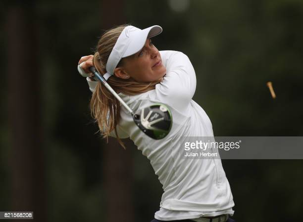 Emma Cabrera Bello of Spain plays a tee shot during The Berenberg Gary Player Invitational 2017 at Wentworth Club on July 24 2017 in London England
