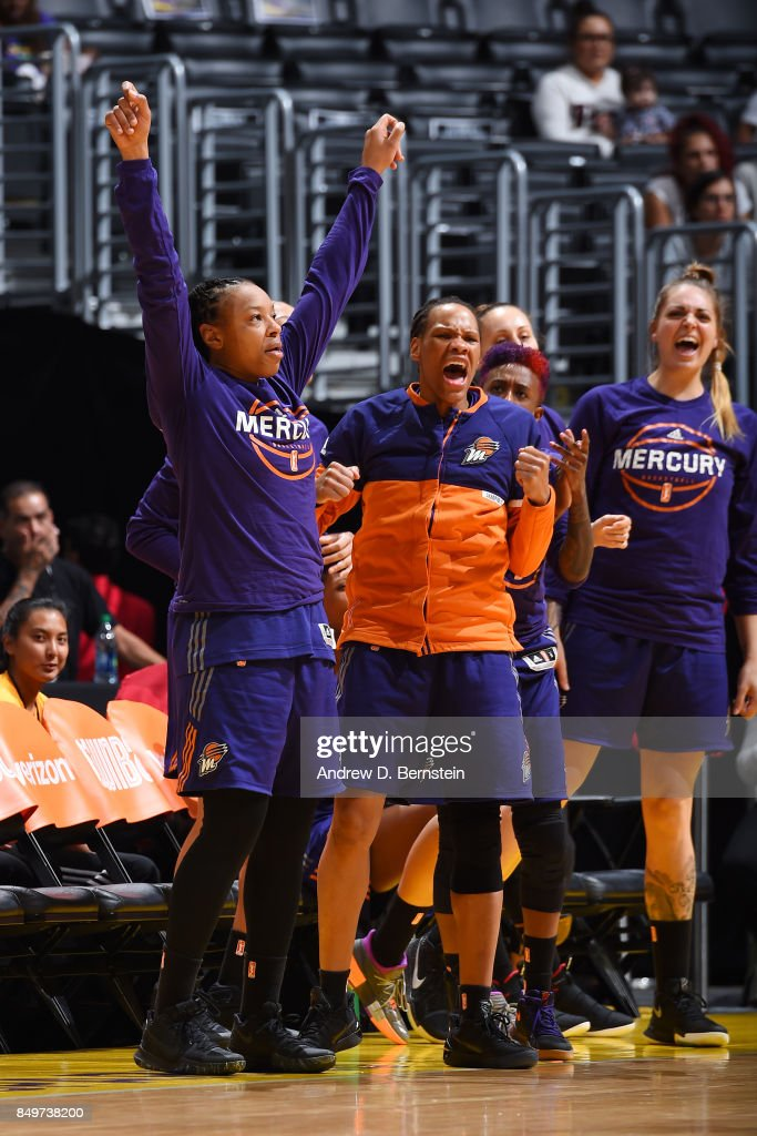 Emma Cannon #10, Monique Currie #25 and Cayla George #23 of the Phoenix Mercury react to a play during the game against the Los Angeles Sparks in Game One of the Semifinals during the 2017 WNBA Playoffs on September 12, 2017 at STAPLES Center in Los Angeles, California.