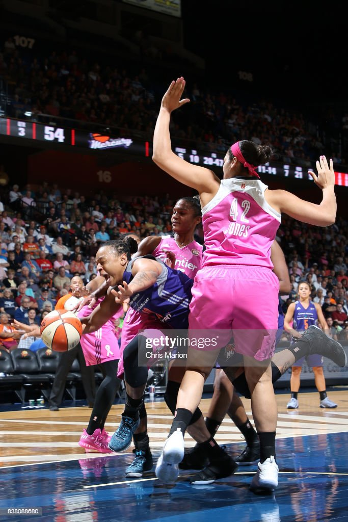 Emma Cannon #10 of the Phoenix Mercury handles the ball during the game against the Connecticut Sun on August 20, 2017 at Mohegan Sun Arena in Uncasville, CT.