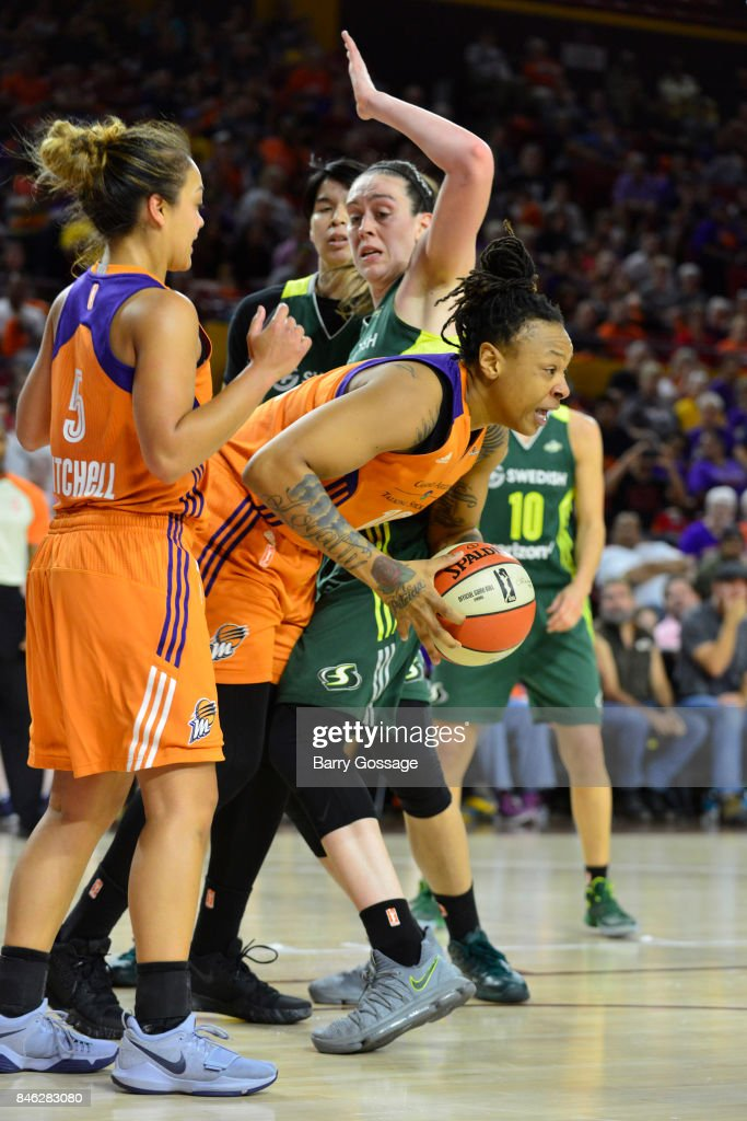 Emma Cannon #10 of the Phoenix Mercury handles the ball during the game against the Seattle Storm in Round One of the 2017 WNBA Playoffs on September 6, 2017 at Arizona State University Wells Fargo Arena in Tempe, Arizona.