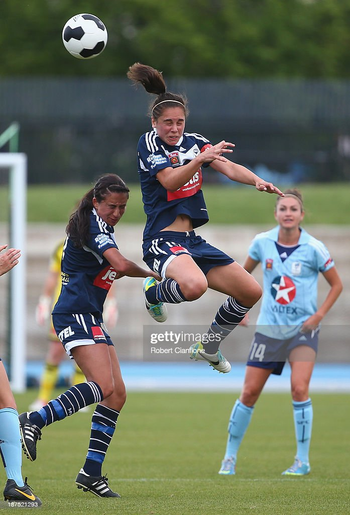 Emma Checker of the Victory heads the ball during the round one W-League match between the Melbourne Victory and Sydney FC at Lakeside Stadium on November 10, 2013 in Melbourne, Australia.
