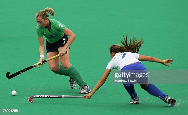 Emma Clarke of Ireland beats Augustina Di Bernardo of Italy during the Women's match between the Ireland and Italy on day four of the EuroHockey...
