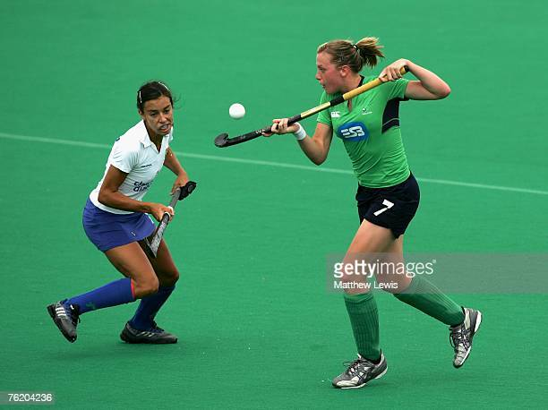 Emma Clarke of Ireland wins the ball from Matilde Canavosio of Italy during the Women's match between the Ireland and Italy on day four of the...