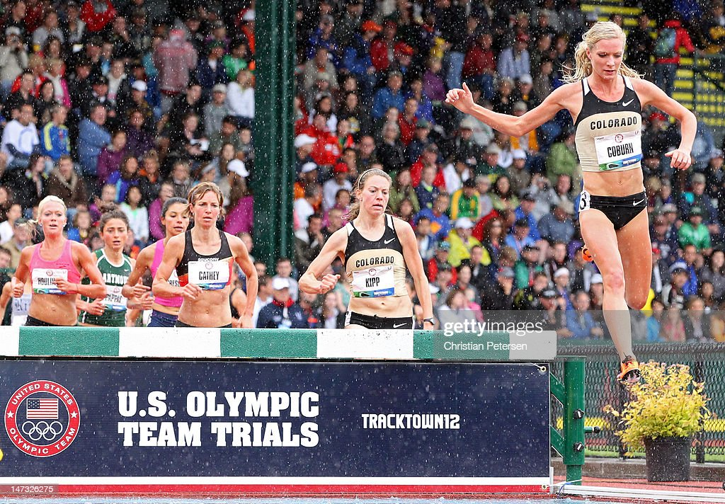 Emma Coburn competes in the women's 3000 meter steeplechase premil during Day Four of the 2012 U.S. Olympic Track & Field Team Trials at Hayward Field on June 25, 2012 in Eugene, Oregon.