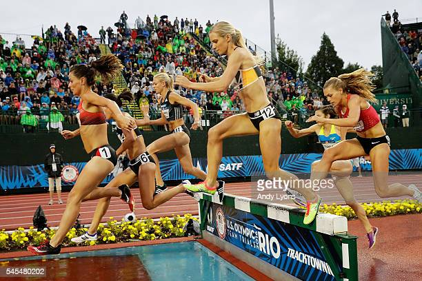Emma Coburn competes on her way to placing first in the Women's 3000 Meter Steeplechase during the 2016 US Olympic Track Field Team Trials at Hayward...