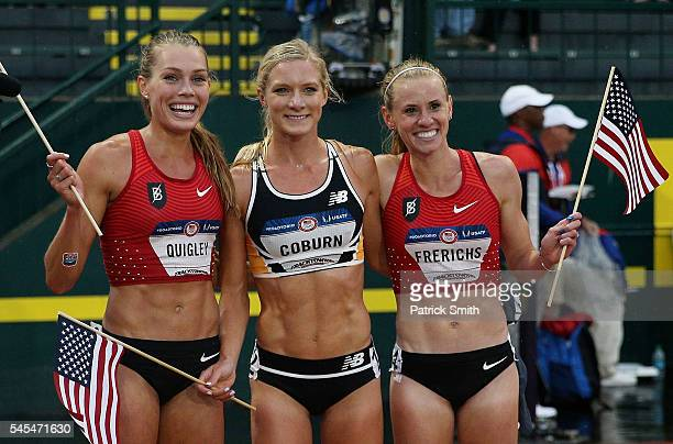Emma Coburn first place Courtney Frerichs second place and Colleen Quigley third place celebrate after finishing in the Women's 3000 Meter...
