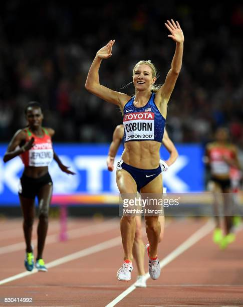 Emma Coburn of the United States celebrates after winning gold in the Women's 3000 metres Steeplechase final during day eight of the 16th IAAF World...