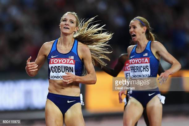 Emma Coburn of the United States gold and Courtney Frerichs of the United States silver celebrate as they cross the finishline in the Women's 3000...
