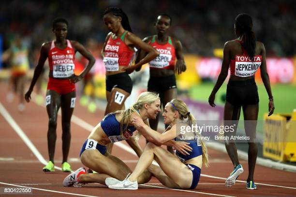 Emma Coburn of the United States gold celebrates with Courtney Frerichs of the United States silver after the Women's 3000 metres Steeplechase final...