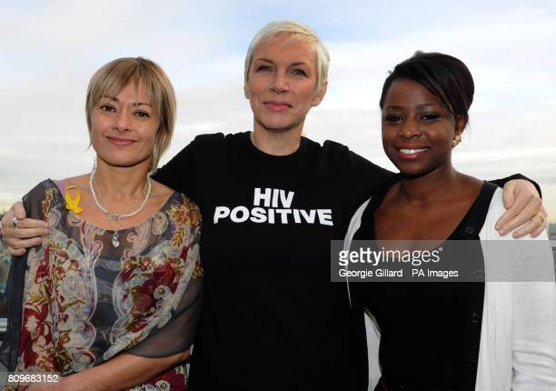 Emma Colyer director of Body Soul singer Annie Lennox and Pearl Mahaga 19 from Luton at the City Hall in London for a reception with the Body and...