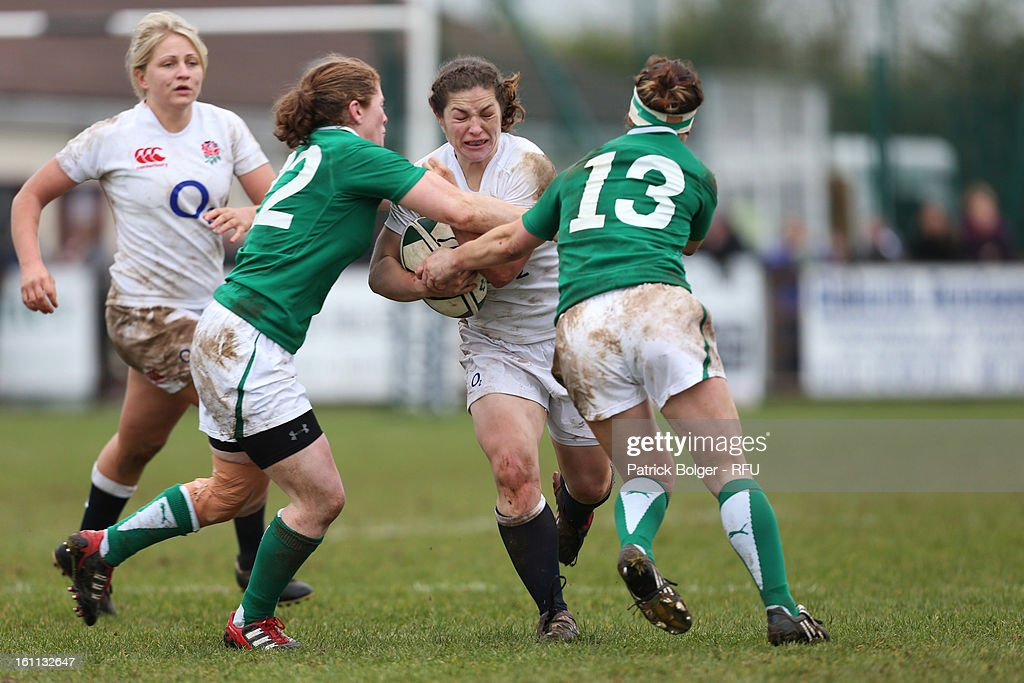 Emma Croker of England Women in action during the Womens Six Nations match between Ireland and England and Scotland at Ashbourne RFC on February 9, 2013 in Ashbourne, Ireland.