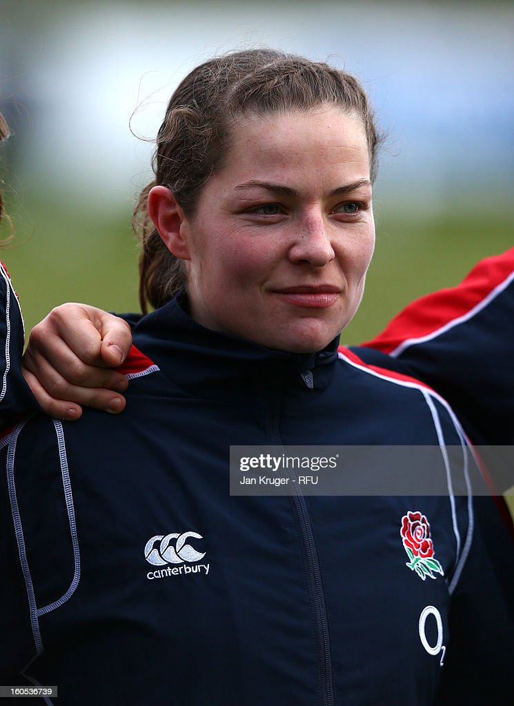 Emma Croker of England Women lines up for the anthem during the Womens Six Nations match between England and Scotland at Esher RFC on February 2, 2013 in Esher, England.