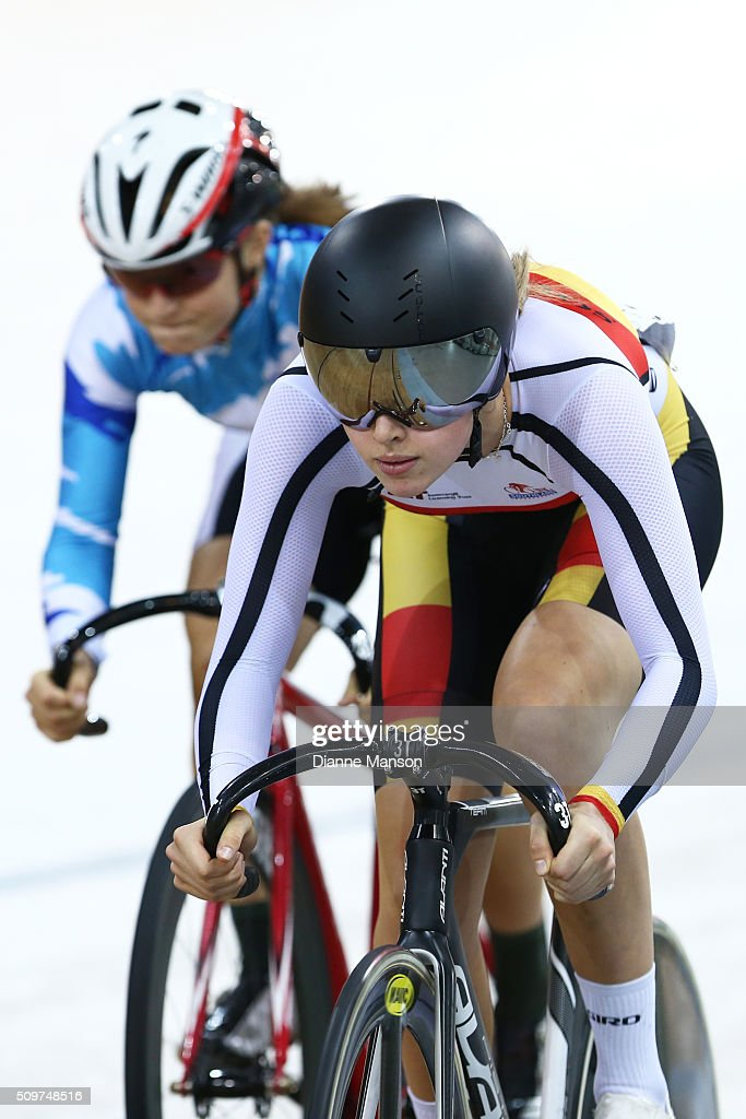 Emma Cumming of Southland (R) competes against Olivia Ray of Auckland in the U19 Women Sprint final during the New Zealand Track National Championships on February 12, 2016 in Cambridge, New Zealand.