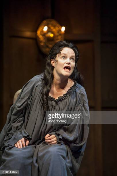 Emma Cunniffe as Anne performs on stage in a production of 'Queen Anne' by the RSC at Theatre Royal on July 6 2017 in London England