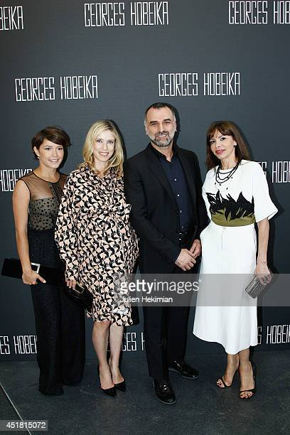 Emma de Caunes Lea Drucker designer Georges Hobeika and Frederique Lopez pose backstage after the Georges Hobeika show as part of Paris Fashion Week...