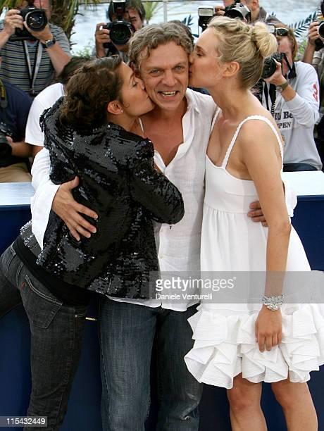 Emma de Caunes Marc Labreche and Diane Kruger during 2007 Cannes Film Festival 'L'Age des Tenebres' Photocall at Palais des Festivals in Cannes France