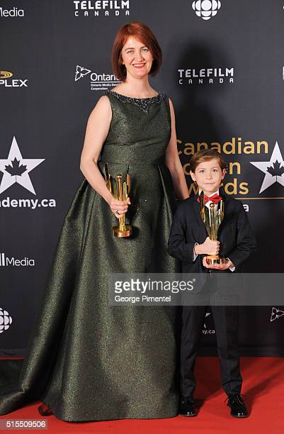 Emma Donoghue and Jacob Tremblay pose in the press room at the 2016 Canadian Screen Awards at the Sony Centre for the Performing Arts on March 13...