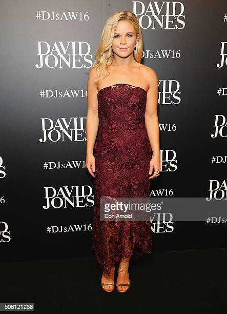 Emma Freedman arrives ahead of the David Jones Autumn/Winter 2016 Fashion Launch at David Jones Elizabeth Street Store on February 3 2016 in Sydney...