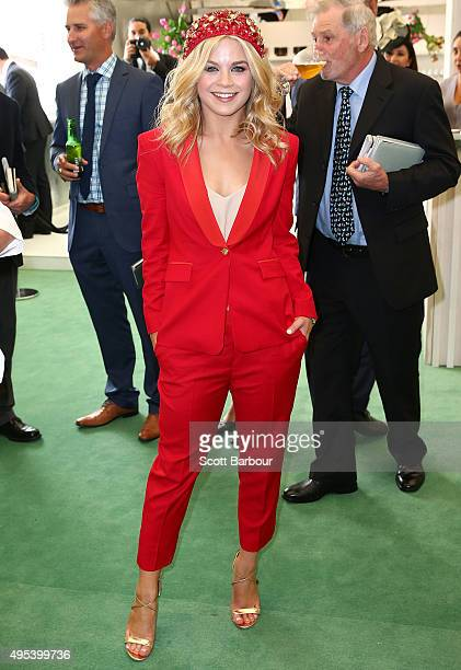 Emma Freedman poses at the Lexus Marquee on Melbourne Cup Day at Flemington Racecourse on November 3 2015 in Melbourne Australia