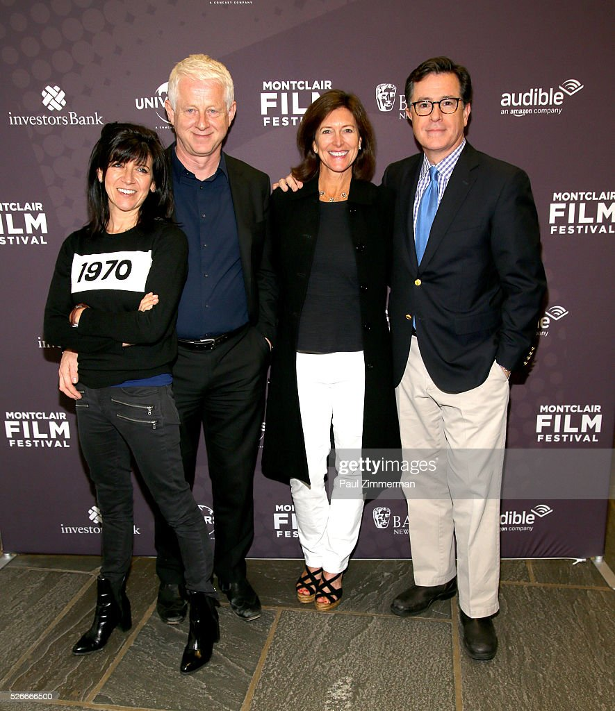 Emma Freud, Richard Curtis, Vice-Chairman of the Board, MFF Evelyn Colbert and Stephen Colbert attend the Montclair Film Festival 2016 Richard Curtis Conversation And Filmmaker Tribute at Montclair Kimberly Academy on April 30, 2016 in Montclair, New Jersey.