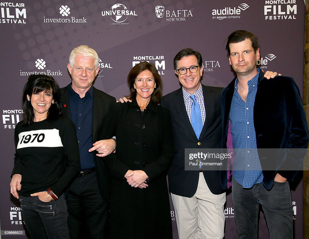 Emma Freud, Richard Curtis, Vice-Chairman of the Board, MFF Evelyn Colbert, Stephen Colbert and Luke Parker Bowles attend the Montclair Film Festival 2016 Richard Curtis Conversation And Filmmaker Tribute at Montclair Kimberly Academy on April 30, 2016 in Montclair, New Jersey.